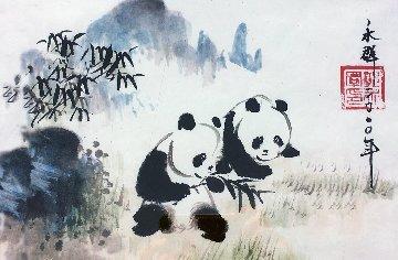 Panda Watercolor  2009 16x21 Watercolor by Guo Yongqun
