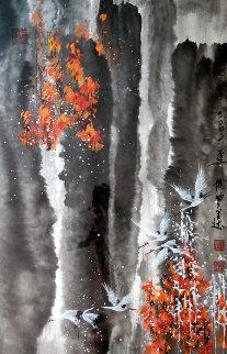 Incoming Flock of Friends 2006 24x37 Original Painting - Guo Yongqun