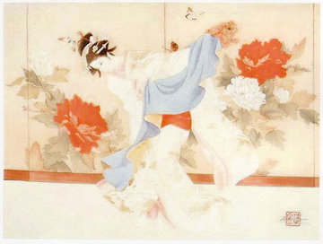 Fu Dog Dancer Limited Edition Print by Caroline Young