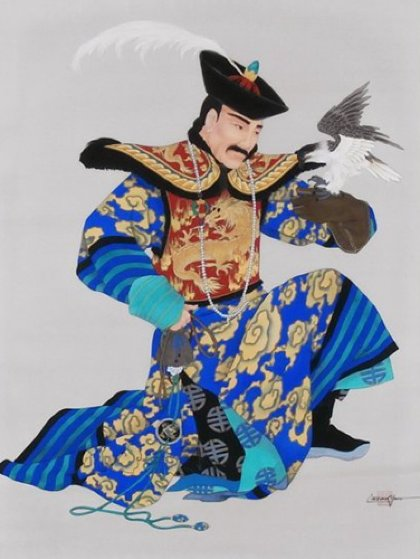 Manchurian Emperor 1989 51x41 Original Painting by Caroline Young