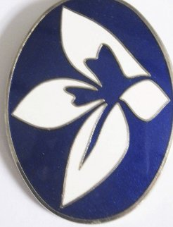 Blue and White Enamel Flower Brooch/pendant 1969 Jewelry by Jack Youngerman