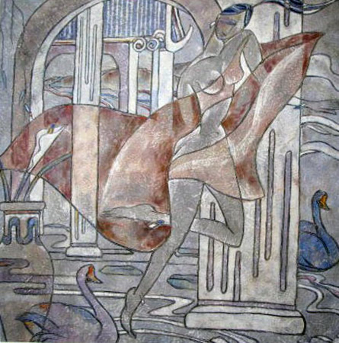 Swan Court 1988 40x40 Huge Original Painting by Yamin Young