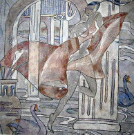 Swan Court 1988 40x40 Huge Original Painting by Yamin Young - 0