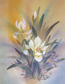Untitled Bouquet 1986 25x20 Original Painting - Yamin Young