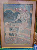 Lady in Pink Hat 1990 25x37 Original Painting by Yamin Young - 1