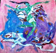 Untitled (Woman And Horses) 1988 52x52 Original Painting by Yamin Young - 1