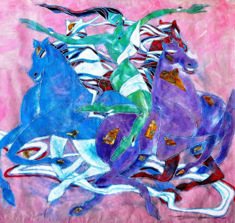 Untitled (Woman And Horses) 1988 52x52 Original Painting by Yamin Young
