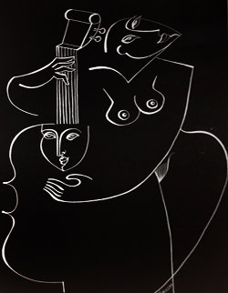 His Musical Muse 1989 70x48 Works on Paper (not prints) by  Yuroz