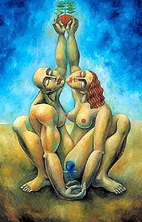 Lover's Reach Embellished 2001 Limited Edition Print by  Yuroz