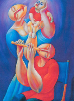 Adoration With Flute 1992 Huge Limited Edition Print -  Yuroz