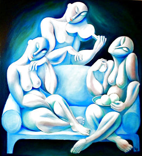 Light Blue Couch 1989 62x62 Huge Major Painting Original Painting -  Yuroz