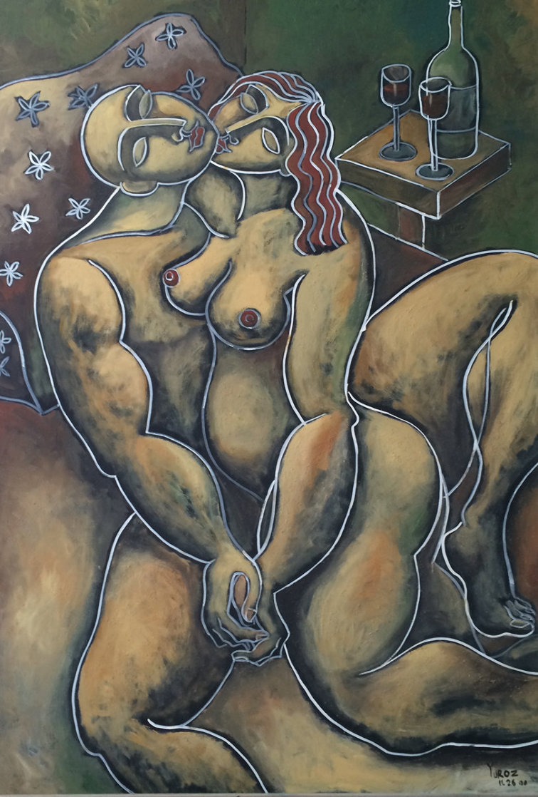 Soft Kissing 2000 82x44 Super Huge Original Painting by  Yuroz