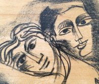 In Love Drawing on wood panel 2005 16x14 Drawing by  Yuroz - 4