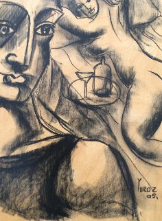 Secret Model Drawing 2005 on Wood Panel 16x13 Drawing -  Yuroz
