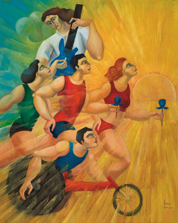 Morning Rays 2010 60x48 Original Painting by  Yuroz