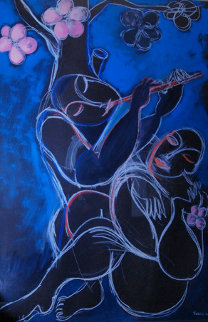 Flute Serenade 1988 60x40 Original Painting by  Yuroz
