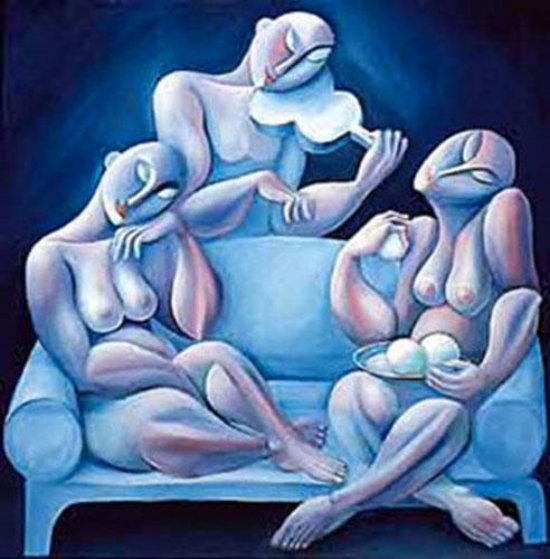 Light Blue Couch 1990 Limited Edition Print by  Yuroz