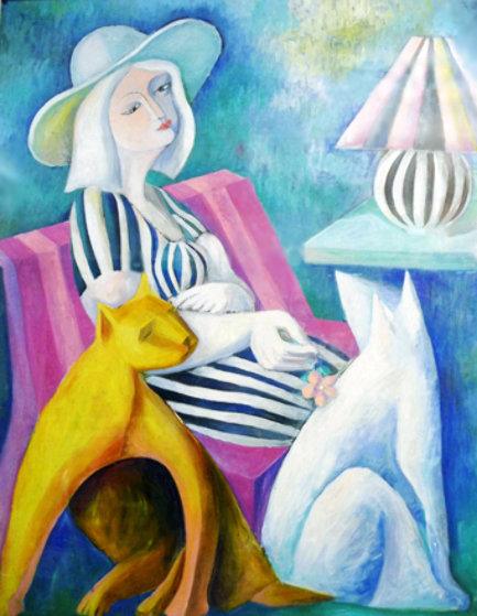 Woman with Hat and Cats 1988 41x41 Original Painting by  Yuroz