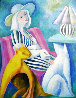 Woman with Hat and Cats 1988 41x41 Original Painting by  Yuroz - 0