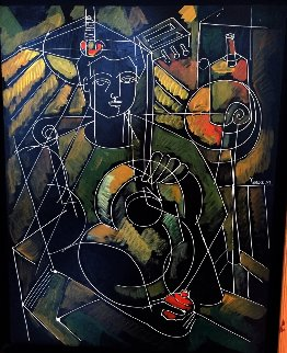 Boy With Guitar 2007 26x22 Original Painting by  Yuroz