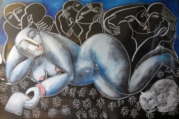 Woman With Cat 1989 47x67 Original Painting by  Yuroz
