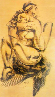 Tranquility Charcoal on Wood 2006 49x60 Original Painting by  Yuroz