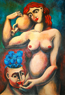 Nurturing the Garden 1999 55x45 Super Huge Original Painting -  Yuroz