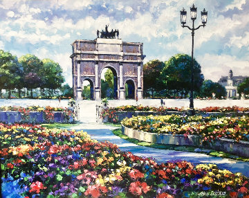 Garden of Tuileries 1980 48x38 Original Painting - John  Zaccheo