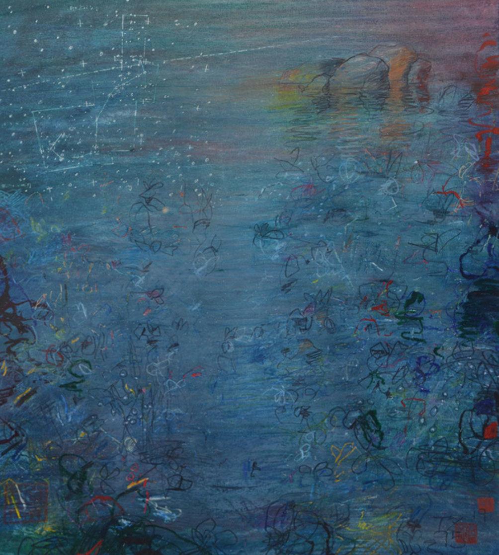 100 Views of Gull Rock 1995 41x52 Super Huge Original Painting by Tino Zago