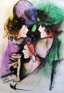 Untitled Painting 1975 21x17 Original Painting - Zamy Steynovitz