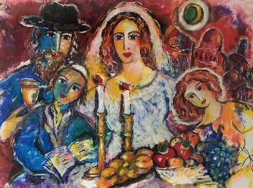 Untitled Wedding 1980 39x47 Original Painting - Zamy Steynovitz