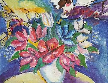 Engle in Paris 15x18 Original Painting - Zamy Steynovitz