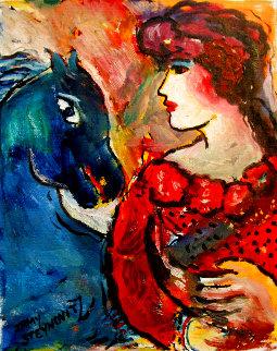 Blue Horse 14x11 HS Original Painting - Zamy Steynovitz