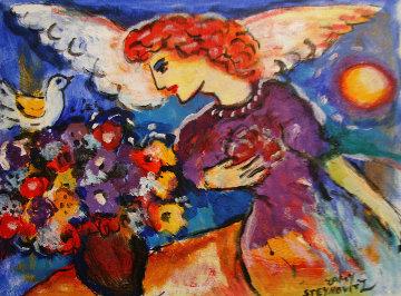 Untitled (Angel) 28x36 Original Painting - Zamy Steynovitz