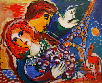 Paris Love 11x14 HS Original Painting - Zamy Steynovitz