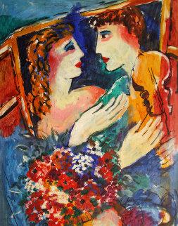 Untitled (Love) 20x15 Original Painting by Zamy Steynovitz