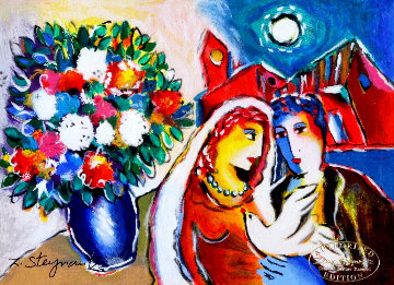 White Dove Blue Vase 2003 Limited Edition Print by Zamy Steynovitz