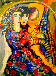 Woman in Floral Dress Limited Edition Print by Zamy Steynovitz