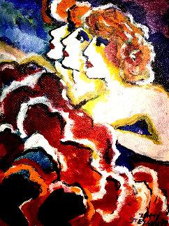 Can Can 20x17 Original Painting - Zamy Steynovitz