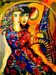 Woman in Floral Dress 1998 Embellished Limited Edition Print - Zamy Steynovitz