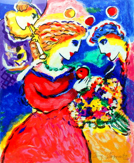 Untitled Serigraph (Couple With Clown) Limited Edition Print - Zamy Steynovitz