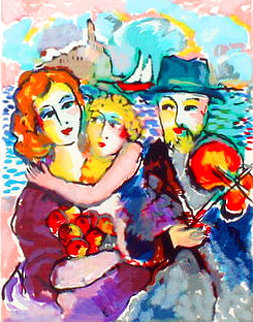 Untitled Serigraph (Family With Seascape Background) AP HS Limited Edition Print - Zamy Steynovitz