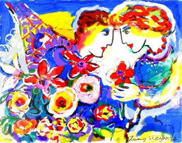 Romance And Flowers At The Eiffel Tower AP Limited Edition Print - Zamy Steynovitz