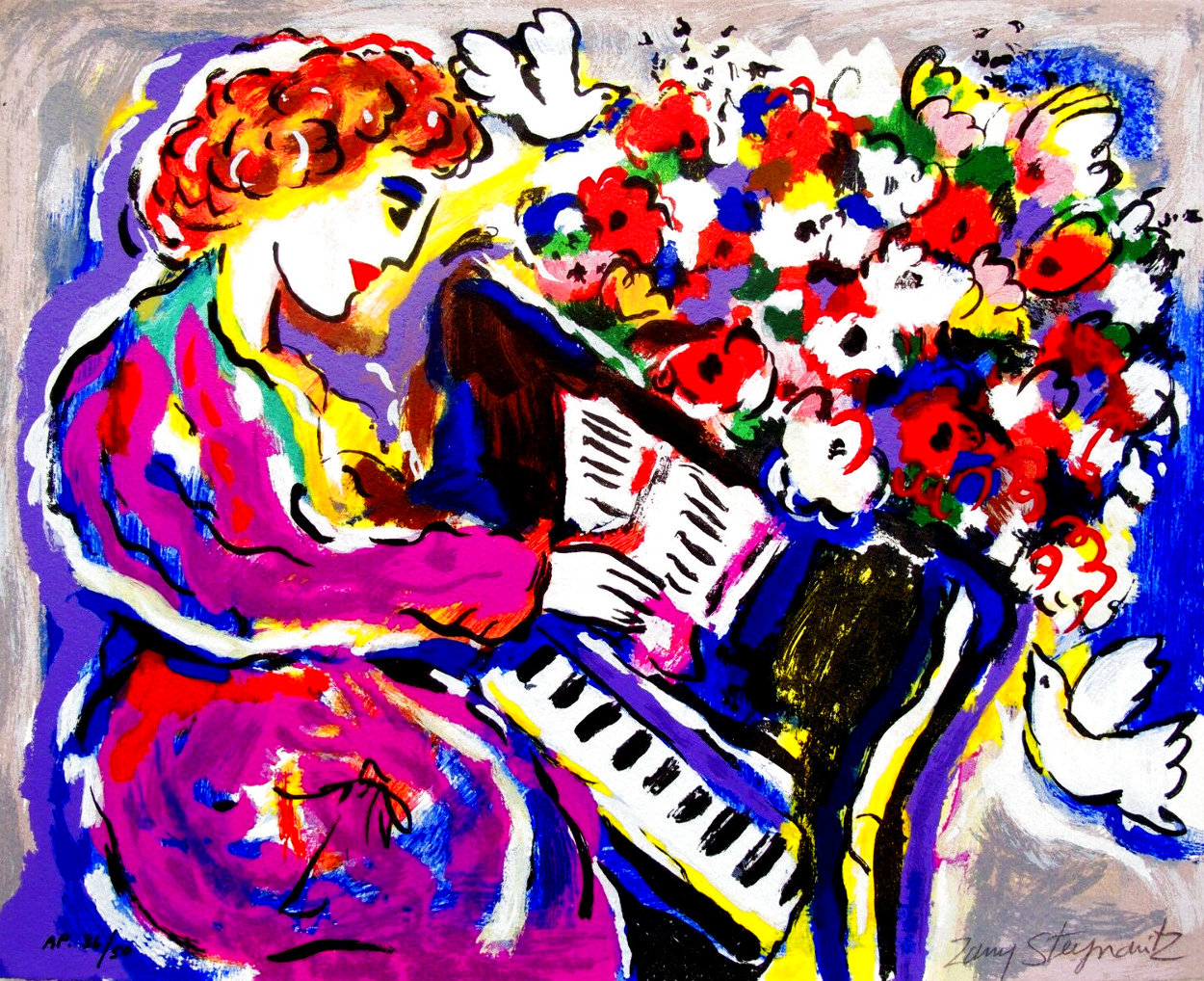 Woman Playing Piano HS Limited Edition Print by Zamy Steynovitz