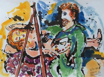 Self Portrait Painting 1989 20x22 Original Painting by Zamy Steynovitz