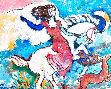Lady on Horse, Deer By the Side HS 18x17 Original Painting - Zamy Steynovitz