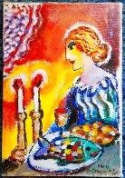Untitled Portrait of a Woman 13x9 HS Original Painting by Zamy Steynovitz - 1