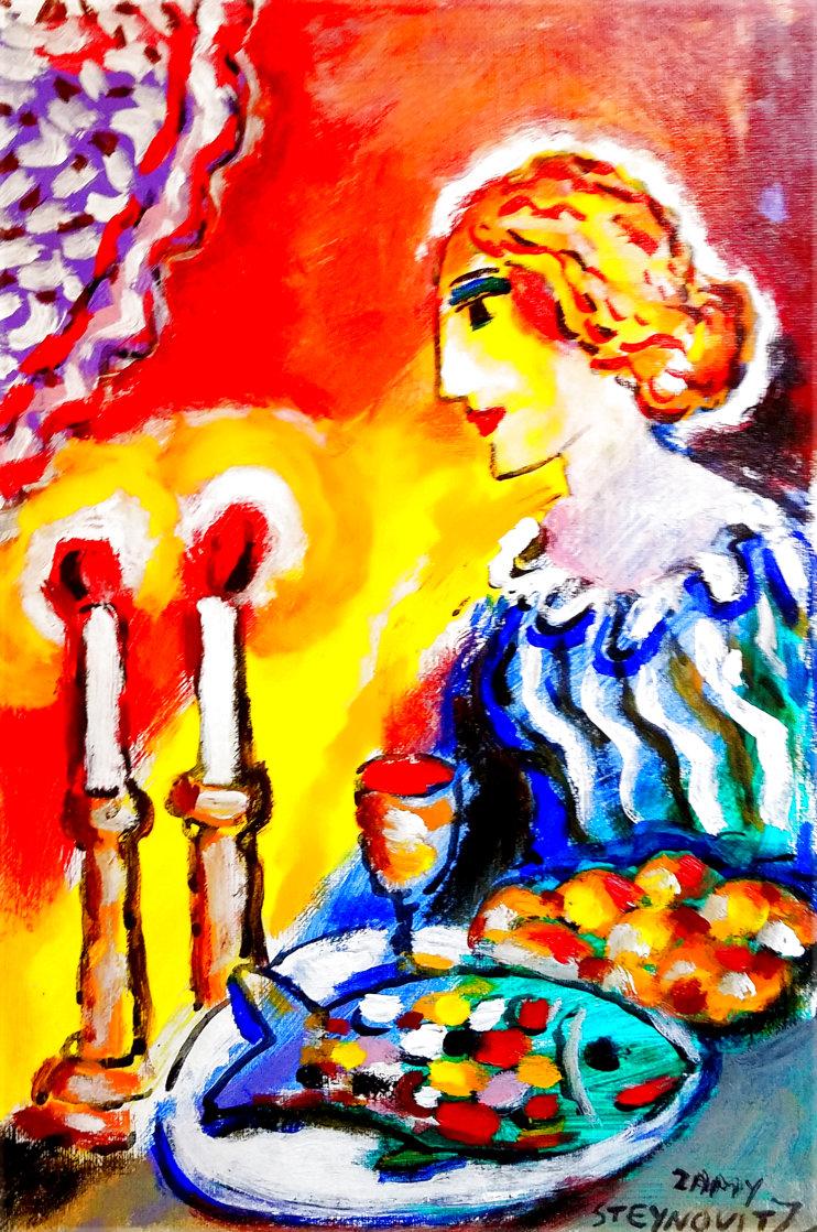 Untitled Portrait of a Woman 13x9 HS Original Painting by Zamy Steynovitz