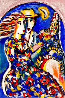 Woman in Floral Dress Embellished HS  Limited Edition Print - Zamy Steynovitz
