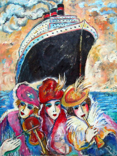 Women's Cruise Vacation 32x28 Original Painting by Zamy Steynovitz